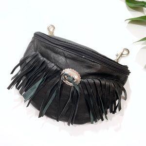 Handbags - Black Faux Leather Fringe Clip on Fanny Pack
